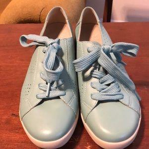 Dansko Leather Orli Nappa Aqua Blue Sneakers